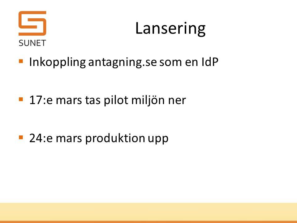 Lansering  Inkoppling antagning.se som en IdP  17:e mars tas pilot miljön ner  24:e mars produktion upp