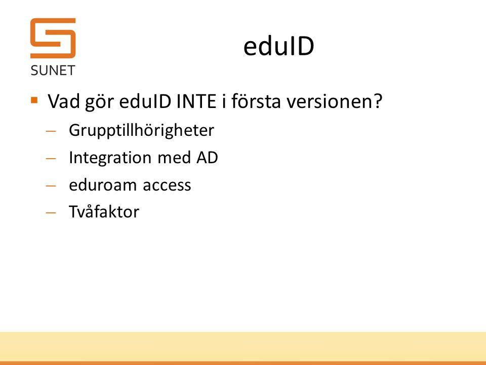 ID-proofing i eduID  AL1  För AL1 gäller e-post eller sociala medier.  E-postadress är bekräftad