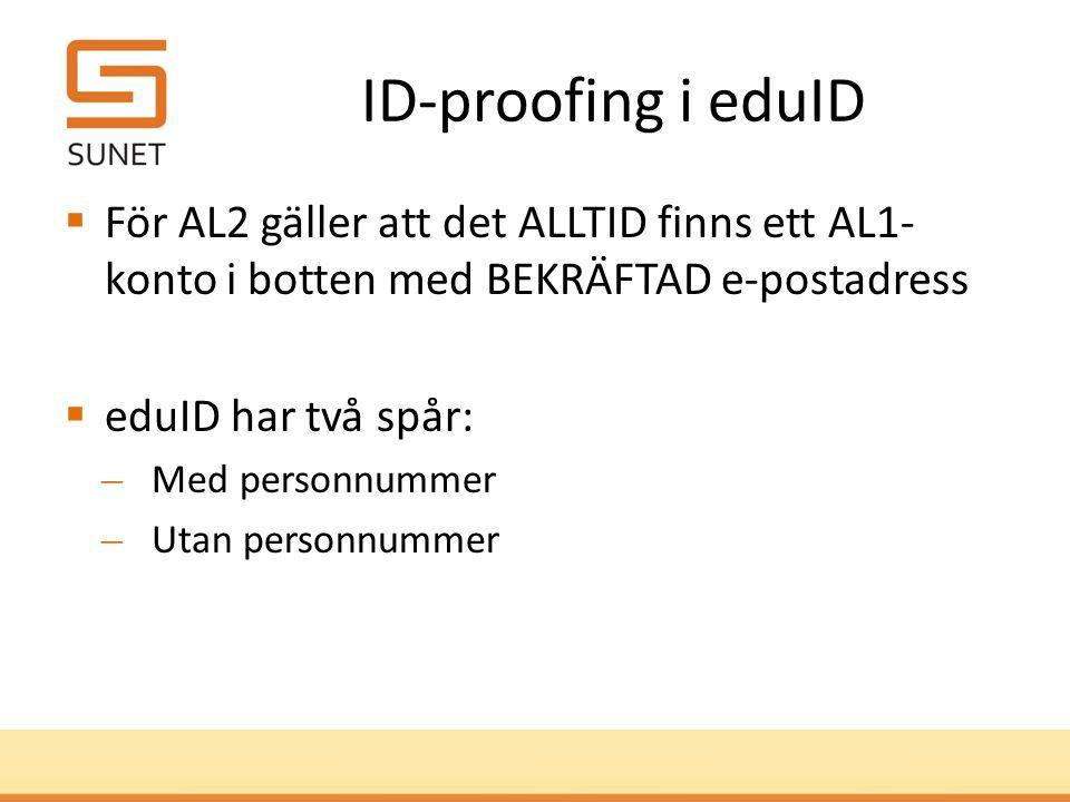 ID-proofing i eduID  För AL2 gäller att det ALLTID finns ett AL1- konto i botten med BEKRÄFTAD e-postadress  eduID har två spår: ̶Med personnummer ̶Utan personnummer