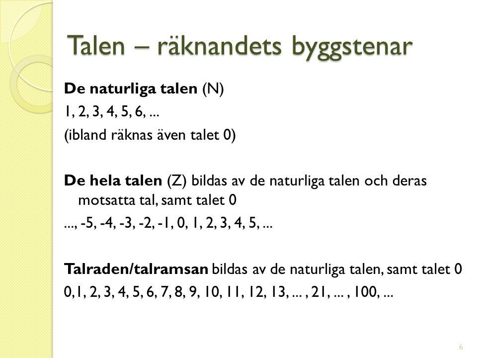 Talen – räknandets byggstenar De naturliga talen (N) 1, 2, 3, 4, 5, 6,... (ibland räknas även talet 0) De hela talen (Z) bildas av de naturliga talen