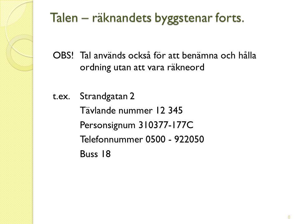 OBS! Tal används också för att benämna och hålla ordning utan att vara räkneord t.ex. Strandgatan 2 Tävlande nummer 12 345 Personsignum 310377-177C Te