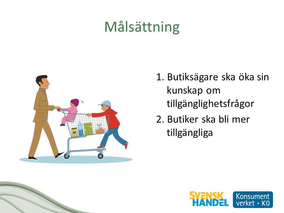 Målsättning 1. Butiksägare ska öka sin kunskap om tillgänglighetsfrågor 2. Butiker ska bli mer tillgängliga
