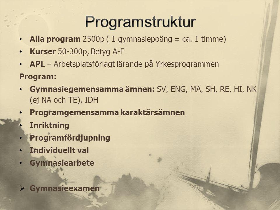 • Alla program 2500p ( 1 gymnasiepoäng = ca. 1 timme) • Kurser 50-300p, Betyg A-F • APL – Arbetsplatsförlagt lärande på Yrkesprogrammen Program: • Gym