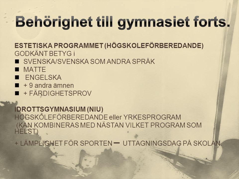 ESTETISKA PROGRAMMET (HÖGSKOLEFÖRBEREDANDE) GODKÄNT BETYG i  SVENSKA/SVENSKA SOM ANDRA SPRÅK  MATTE  ENGELSKA  + 9 andra ämnen  + FÄRDIGHETSPROV