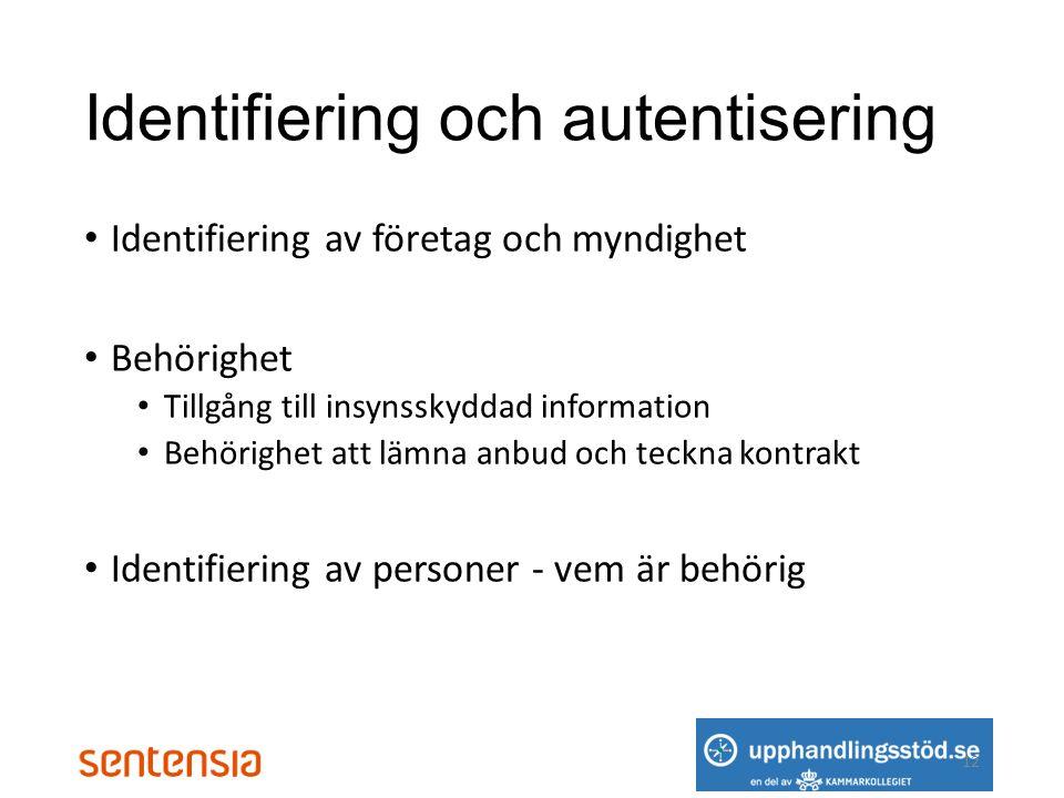 Identifiering och autentisering • Identifiering av företag och myndighet • Behörighet • Tillgång till insynsskyddad information • Behörighet att lämna anbud och teckna kontrakt • Identifiering av personer - vem är behörig 12