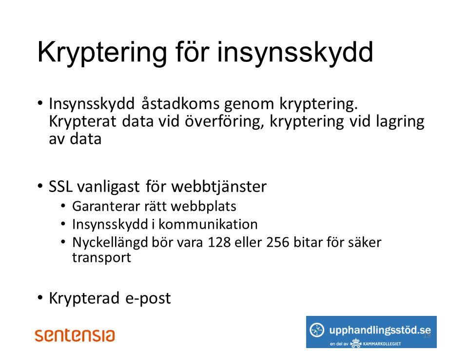 Kryptering för insynsskydd • Insynsskydd åstadkoms genom kryptering.