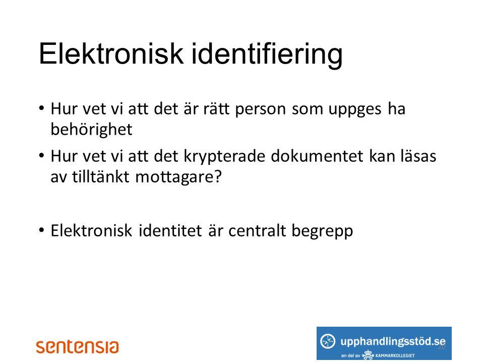 Elektronisk identifiering • Hur vet vi att det är rätt person som uppges ha behörighet • Hur vet vi att det krypterade dokumentet kan läsas av tilltänkt mottagare.