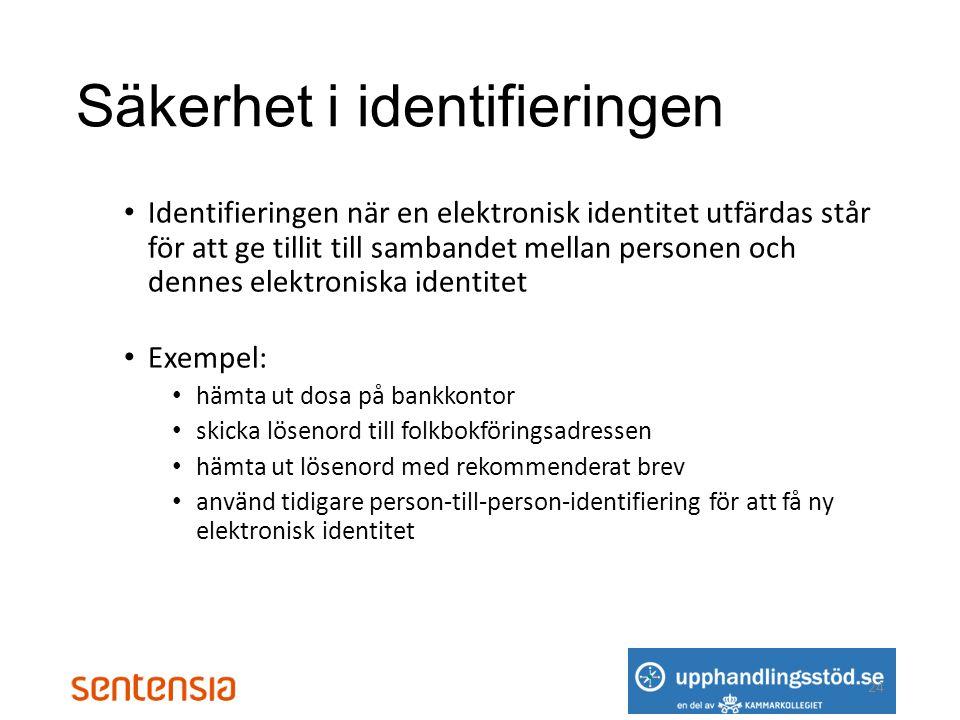 Säkerhet i identifieringen • Identifieringen när en elektronisk identitet utfärdas står för att ge tillit till sambandet mellan personen och dennes elektroniska identitet • Exempel: • hämta ut dosa på bankkontor • skicka lösenord till folkbokföringsadressen • hämta ut lösenord med rekommenderat brev • använd tidigare person-till-person-identifiering för att få ny elektronisk identitet 24