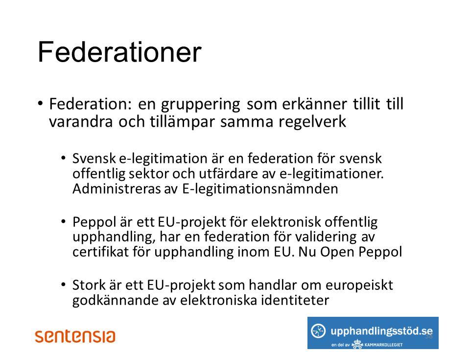 Federationer • Federation: en gruppering som erkänner tillit till varandra och tillämpar samma regelverk • Svensk e-legitimation är en federation för svensk offentlig sektor och utfärdare av e-legitimationer.