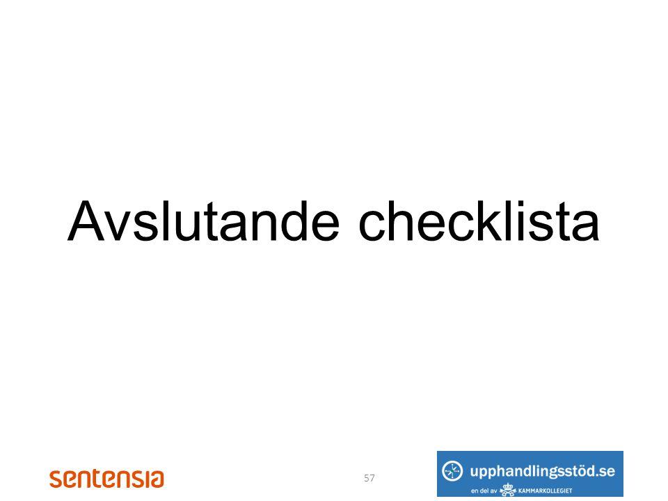 Avslutande checklista 57