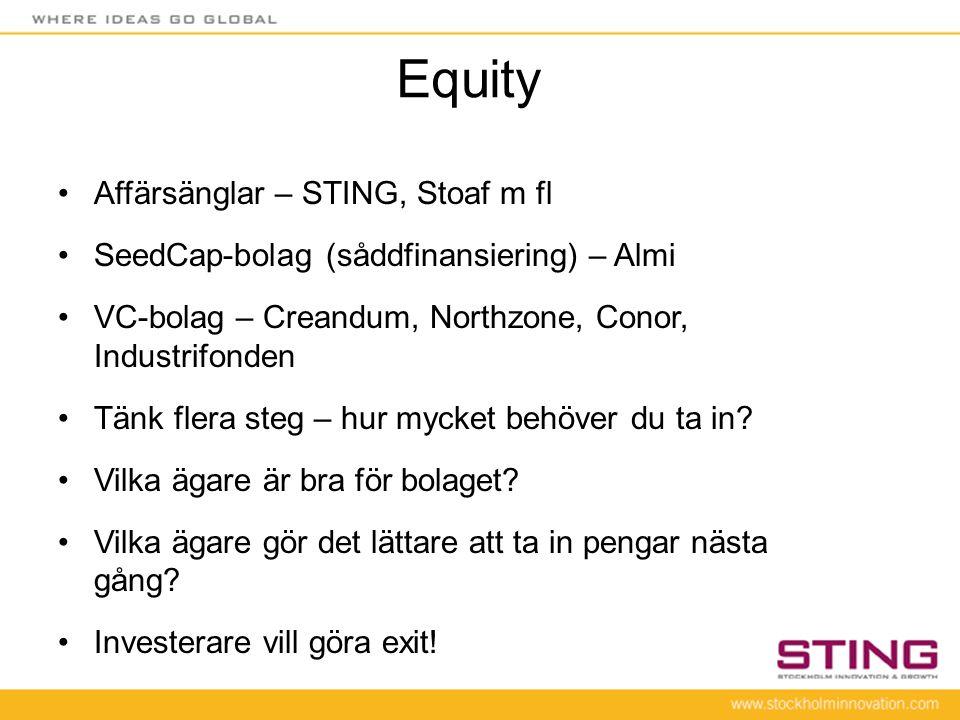 Equity •Affärsänglar – STING, Stoaf m fl •SeedCap-bolag (såddfinansiering) – Almi •VC-bolag – Creandum, Northzone, Conor, Industrifonden •Tänk flera s