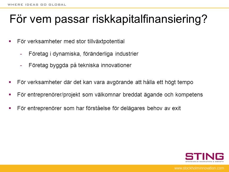 För vem passar riskkapitalfinansiering?  För verksamheter med stor tillväxtpotential -Företag i dynamiska, föränderliga industrier -Företag byggda på