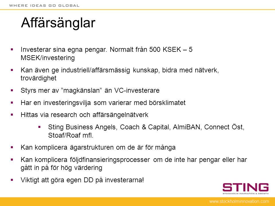 Affärsänglar  Investerar sina egna pengar. Normalt från 500 KSEK – 5 MSEK/investering  Kan även ge industriell/affärsmässig kunskap, bidra med nätve