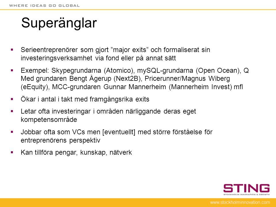 """Superänglar  Serieentreprenörer som gjort """"major exits"""" och formaliserat sin investeringsverksamhet via fond eller på annat sätt  Exempel: Skypegrun"""