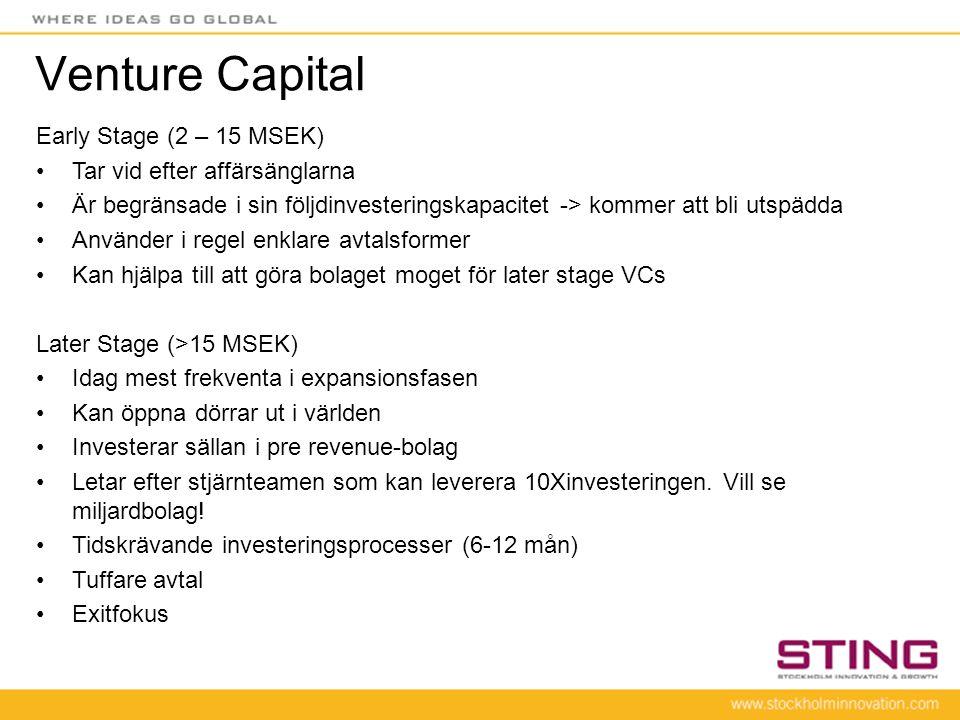 Venture Capital Early Stage (2 – 15 MSEK) •Tar vid efter affärsänglarna •Är begränsade i sin följdinvesteringskapacitet -> kommer att bli utspädda •An