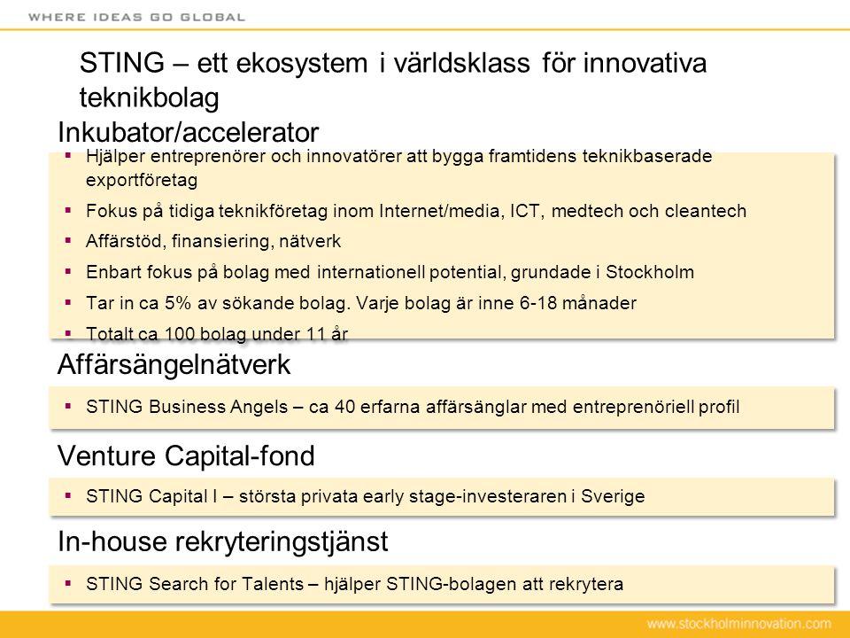 STING – ett ekosystem i världsklass för innovativa teknikbolag  Hjälper entreprenörer och innovatörer att bygga framtidens teknikbaserade exportföret