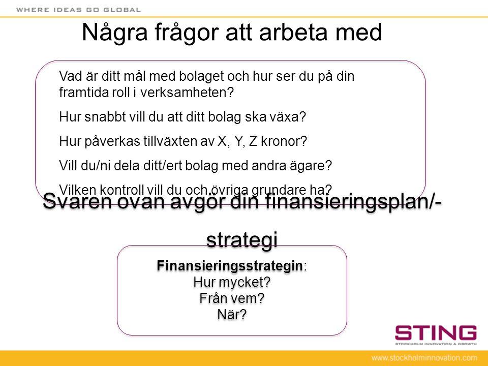 Svaren ovan avgör din finansieringsplan/- strategi Finansieringsstrategin: Hur mycket? Från vem? När? Finansieringsstrategin: Hur mycket? Från vem? Nä