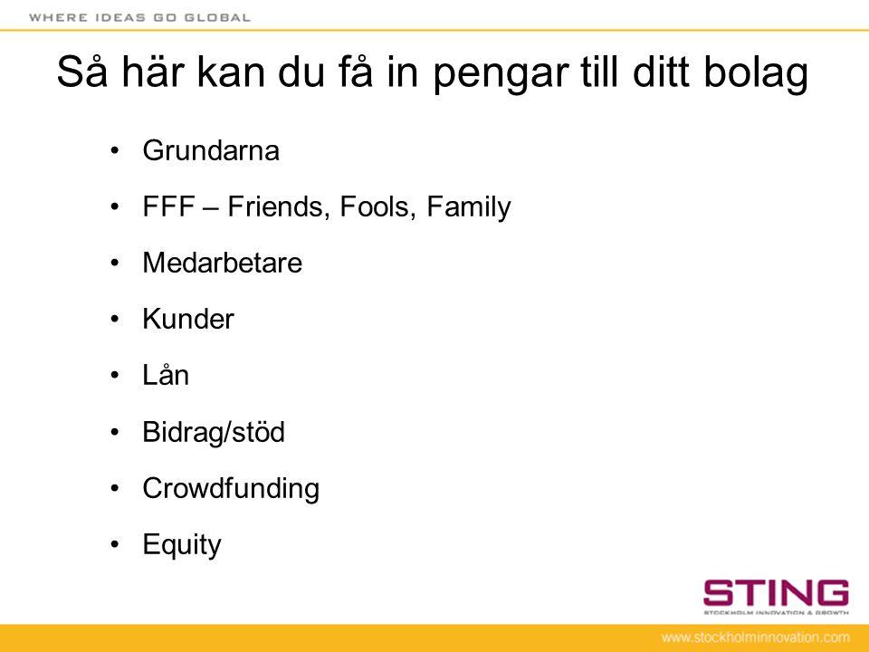 Så här kan du få in pengar till ditt bolag •Grundarna •FFF – Friends, Fools, Family •Medarbetare •Kunder •Lån •Bidrag/stöd •Crowdfunding •Equity