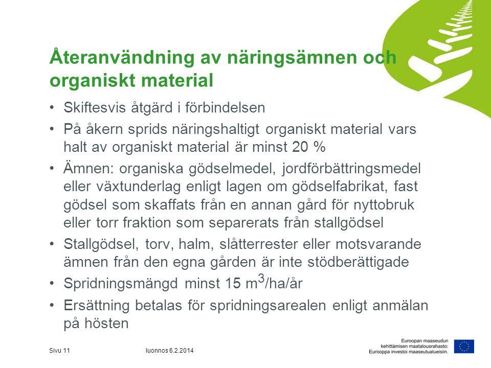 Återanvändning av näringsämnen och organiskt material •Skiftesvis åtgärd i förbindelsen •På åkern sprids näringshaltigt organiskt material vars halt a