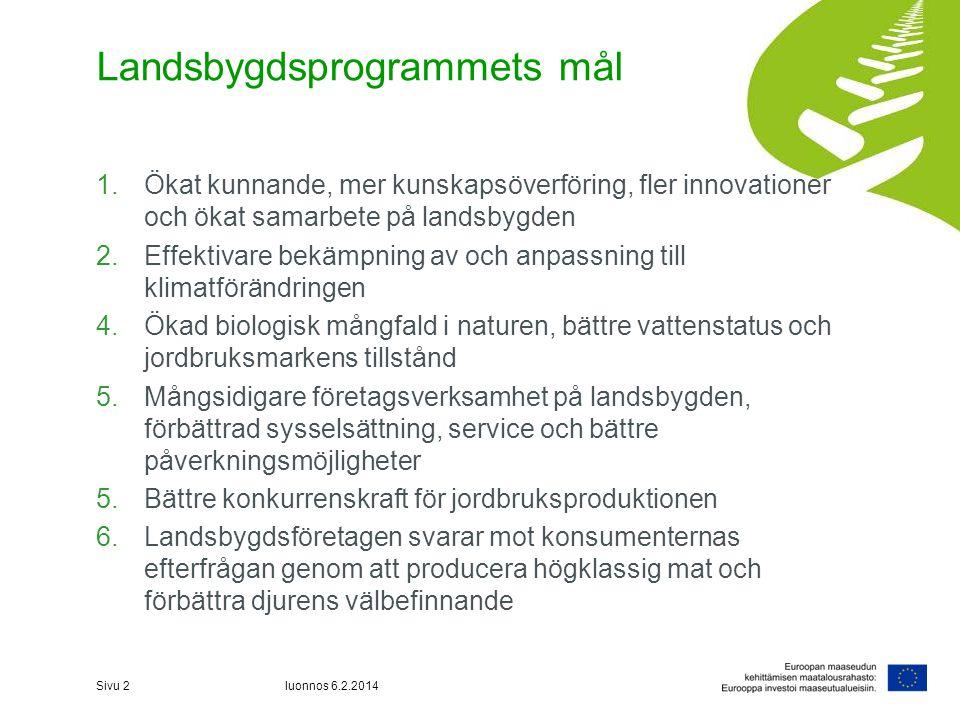 Landsbygdsprogrammets mål 1.Ökat kunnande, mer kunskapsöverföring, fler innovationer och ökat samarbete på landsbygden 2.Effektivare bekämpning av och