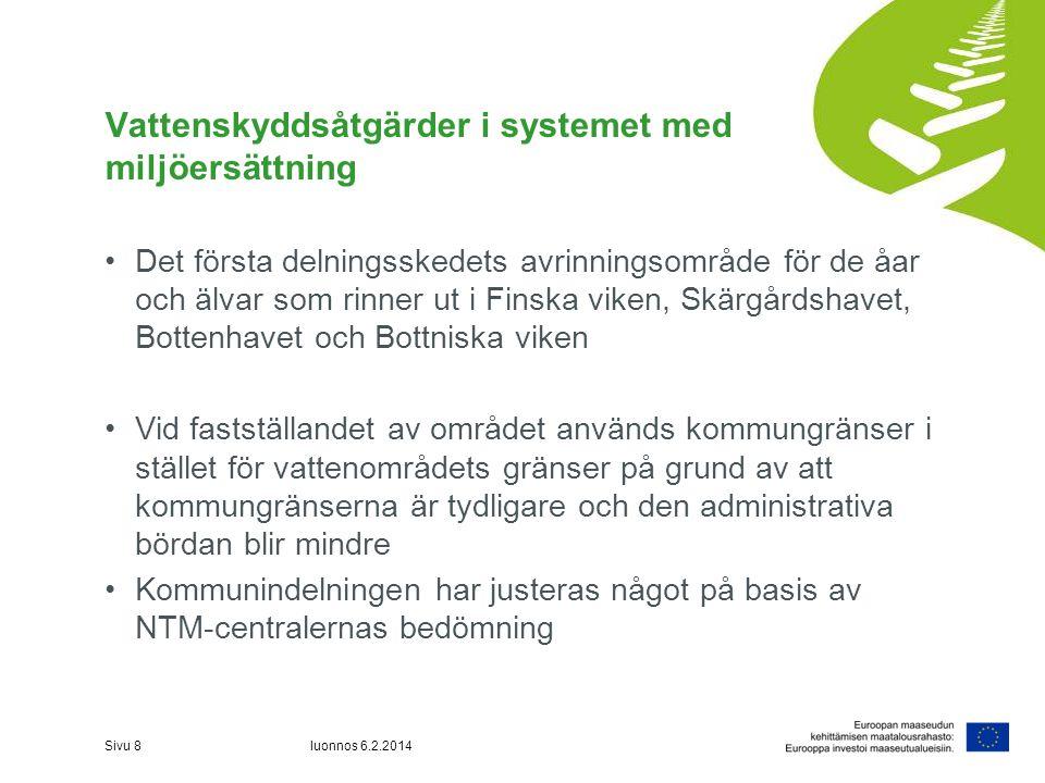 Vattenskyddsåtgärder i systemet med miljöersättning •Det första delningsskedets avrinningsområde för de åar och älvar som rinner ut i Finska viken, Sk