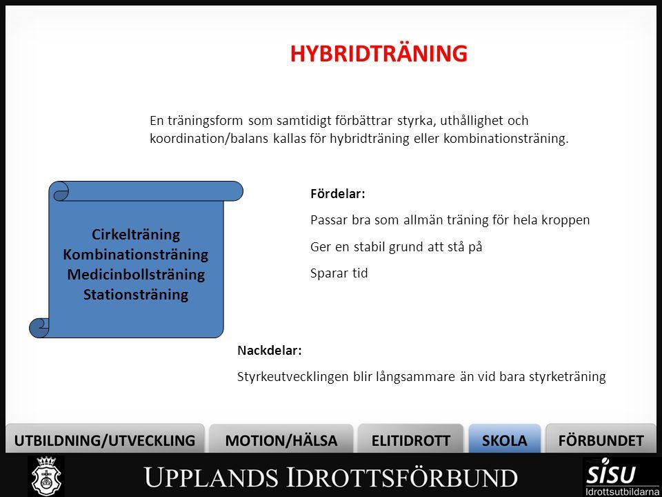 HYBRIDTRÄNING En träningsform som samtidigt förbättrar styrka, uthållighet och koordination/balans kallas för hybridträning eller kombinationsträning.