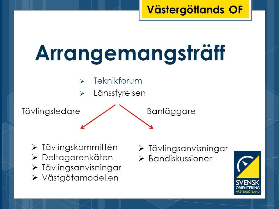 Västergötlands OF Arrangemangsträff  Teknikforum  Länsstyrelsen  Tävlingskommittén  Deltagarenkäten  Tävlingsanvisningar  Västgötamodellen  Täv