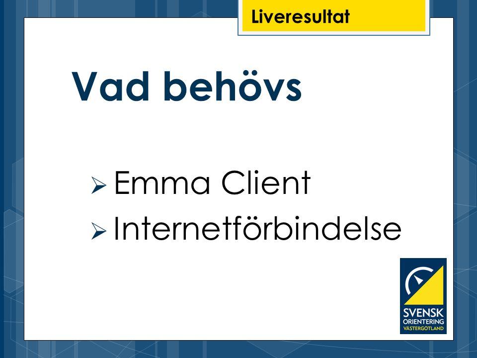 Liveresultat  Emma Client  Internetförbindelse Vad behövs