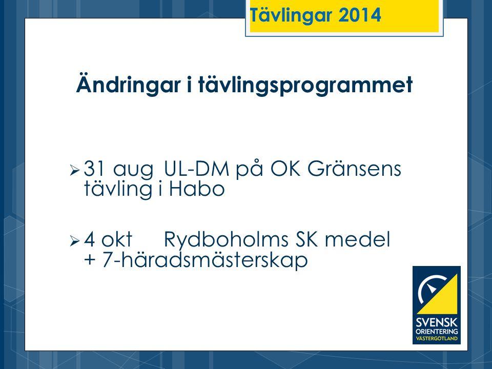  31 aug UL-DM på OK Gränsens tävling i Habo  4 oktRydboholms SK medel + 7-häradsmästerskap Ändringar i tävlingsprogrammet Tävlingar 2014