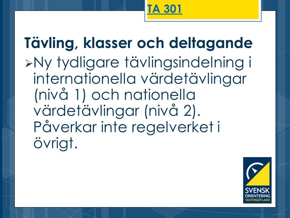Tävling, klasser och deltagande  Ny tydligare tävlingsindelning i internationella värdetävlingar (nivå 1) och nationella värdetävlingar (nivå 2). Påv