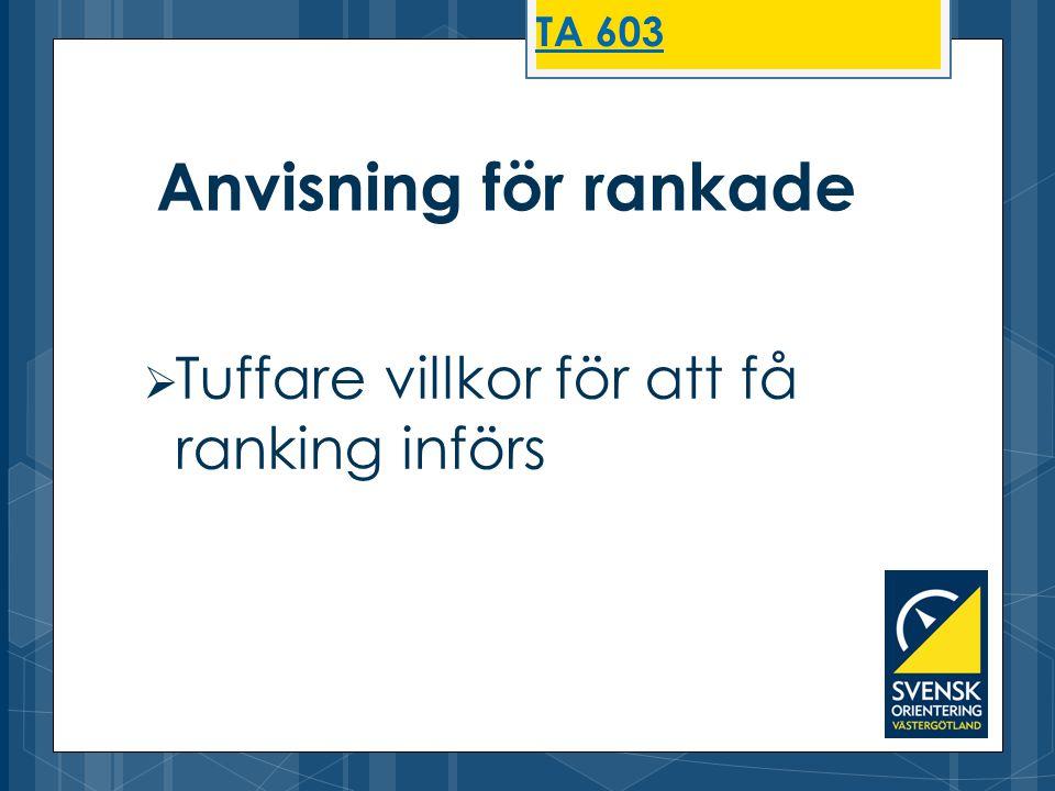  Tuffare villkor för att få ranking införs Anvisning för rankade TA 603