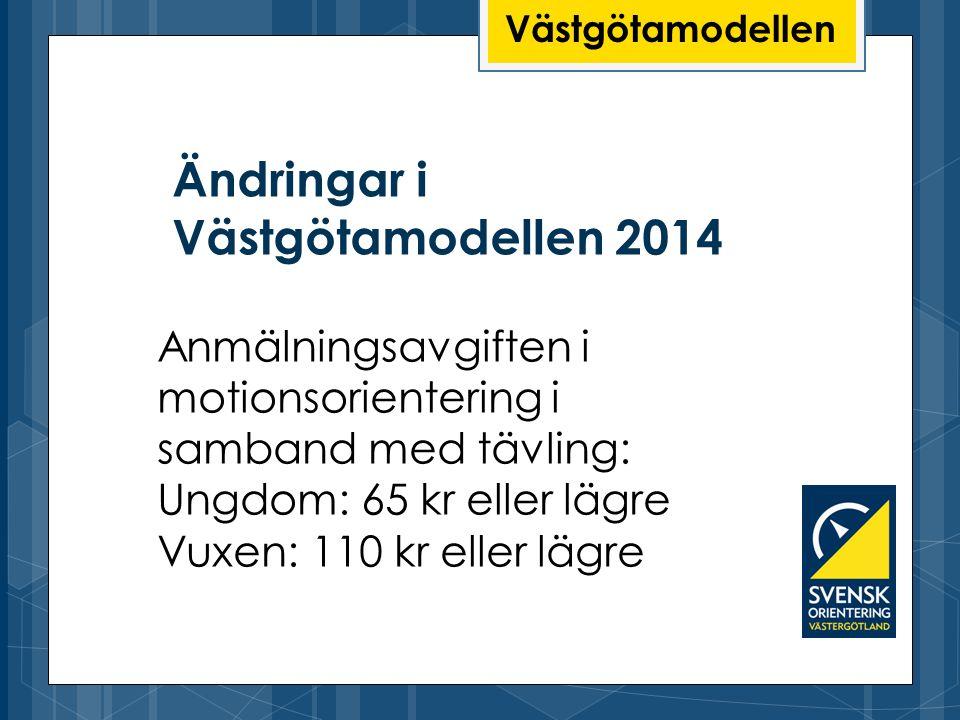 Ändringar i Västgötamodellen 2014 Västgötamodellen Anmälningsavgiften i motionsorientering i samband med tävling: Ungdom: 65 kr eller lägre Vuxen: 110