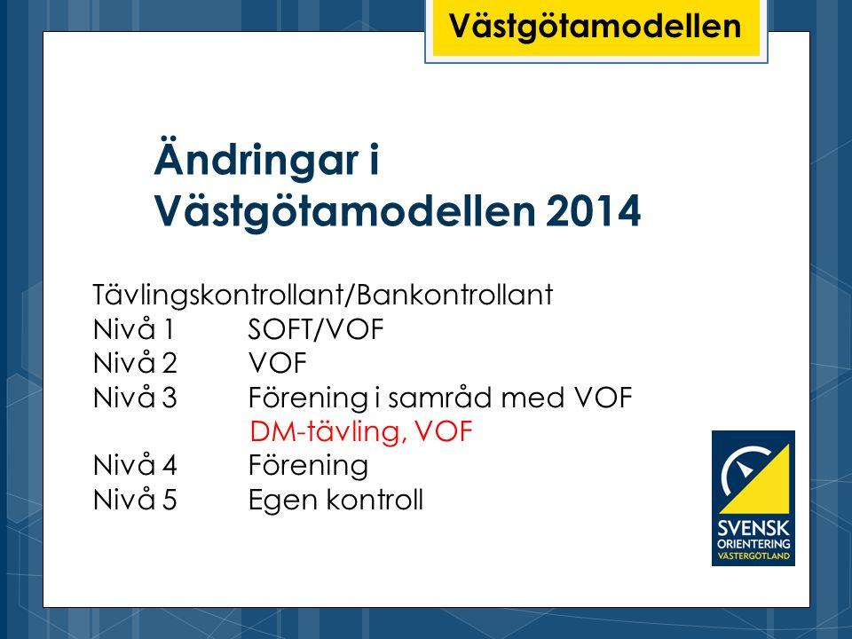 Ändringar i Västgötamodellen 2014 Västgötamodellen Tävlingskontrollant/Bankontrollant Nivå 1 SOFT/VOF Nivå 2 VOF Nivå 3 Förening i samråd med VOF DM-t