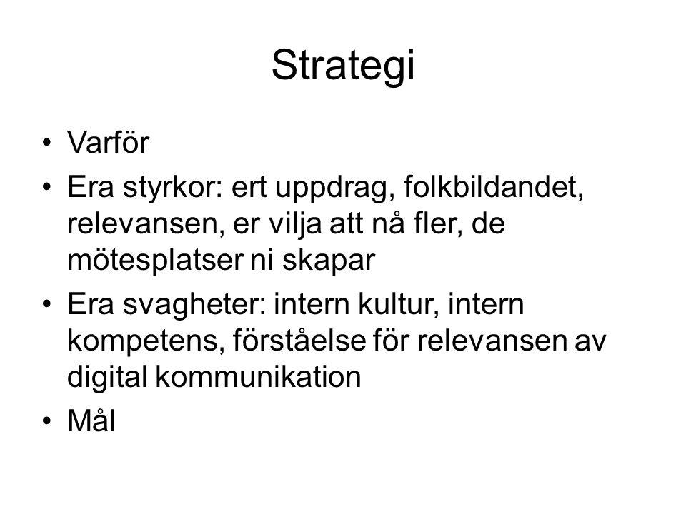 Strategi •Varför •Era styrkor: ert uppdrag, folkbildandet, relevansen, er vilja att nå fler, de mötesplatser ni skapar •Era svagheter: intern kultur,