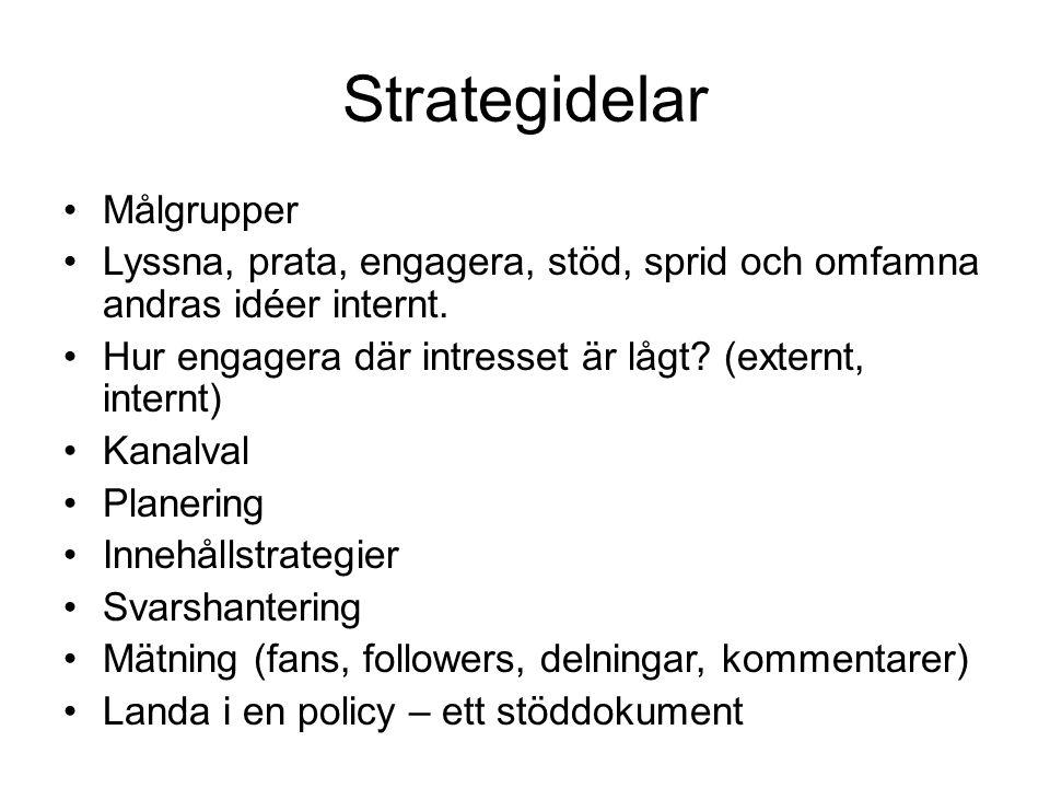 Strategidelar •Målgrupper •Lyssna, prata, engagera, stöd, sprid och omfamna andras idéer internt. •Hur engagera där intresset är lågt? (externt, inter
