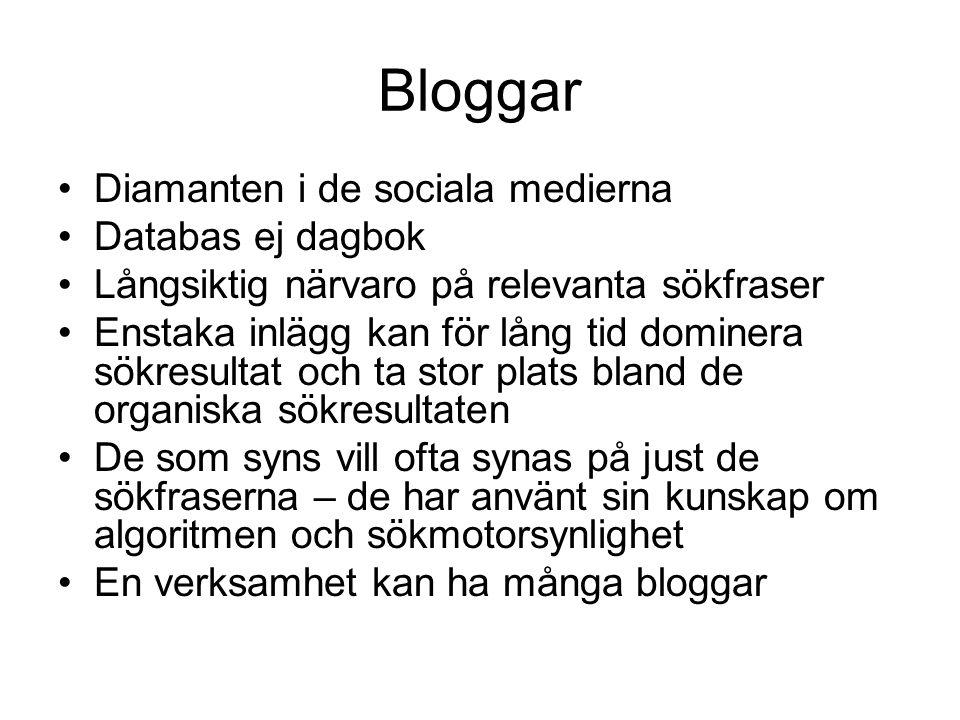 Bloggar •Diamanten i de sociala medierna •Databas ej dagbok •Långsiktig närvaro på relevanta sökfraser •Enstaka inlägg kan för lång tid dominera sökre