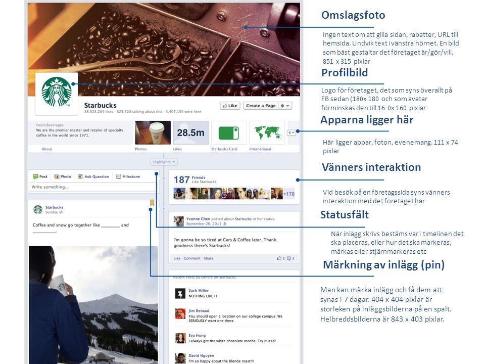 Omslagsfoto Profilbild Apparna ligger här Vänners interaktion Statusfält Märkning av inlägg (pin) Ingen text om att gilla sidan, rabatter, URL till he