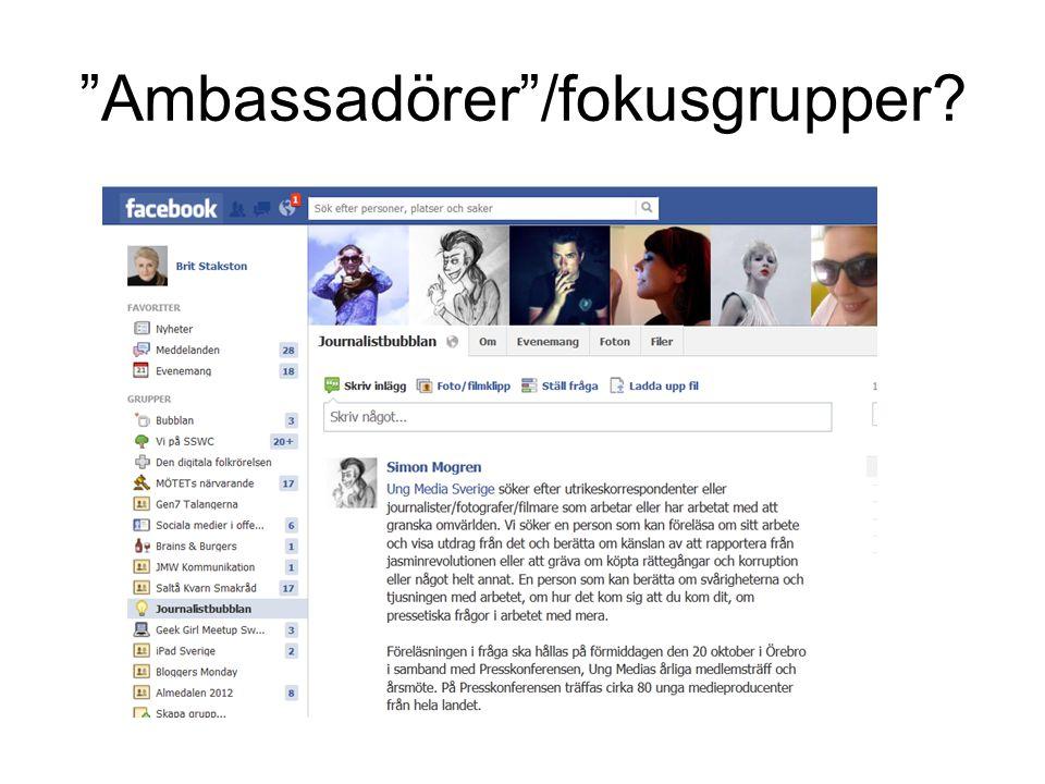 """""""Ambassadörer""""/fokusgrupper?"""