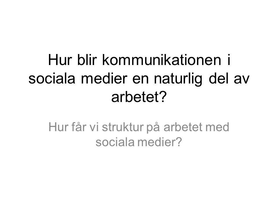 Hur blir kommunikationen i sociala medier en naturlig del av arbetet? Hur får vi struktur på arbetet med sociala medier?