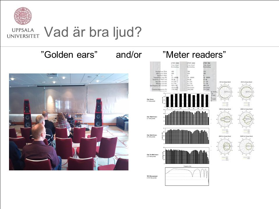 Vad är bra ljud? Golden ears and/or Meter readers