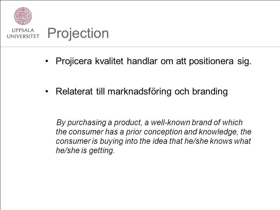 Projection •Projicera kvalitet handlar om att positionera sig. •Relaterat till marknadsföring och branding By purchasing a product, a well-known brand