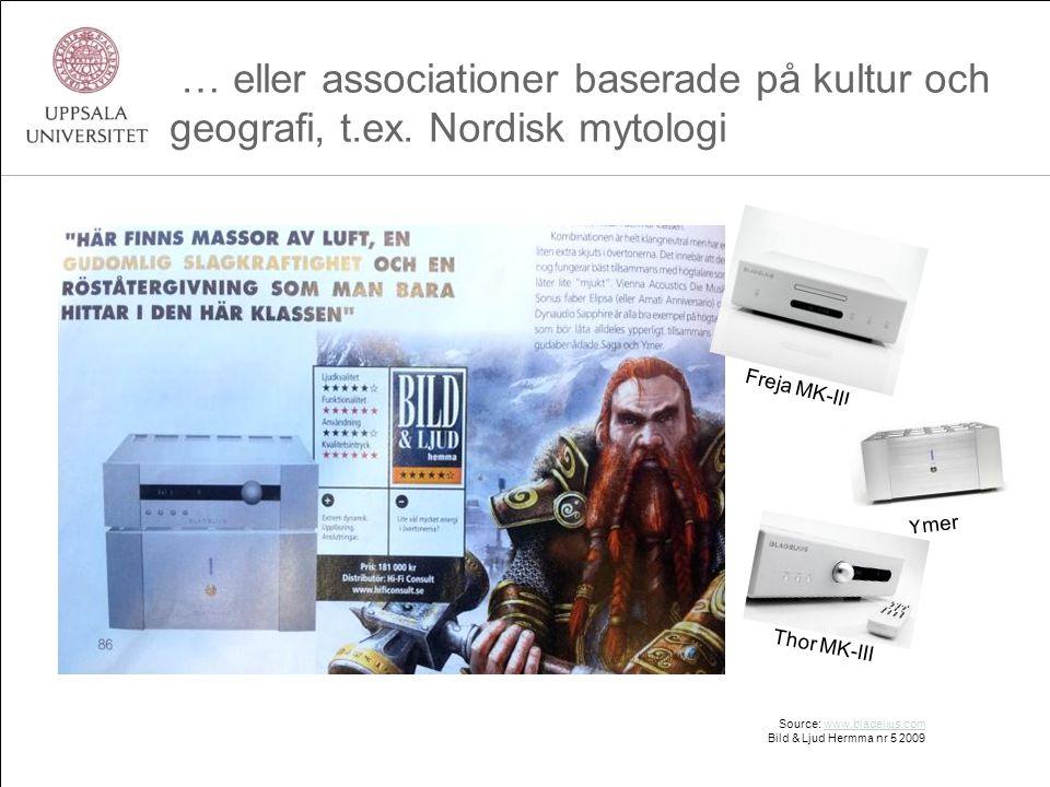 … eller associationer baserade på kultur och geografi, t.ex. Nordisk mytologi Source: www.bladelius.comwww.bladelius.com Bild & Ljud Hermma nr 5 2009