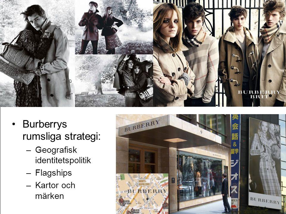 •Burberrys rumsliga strategi: –Geografisk identitetspolitik –Flagships –Kartor och märken