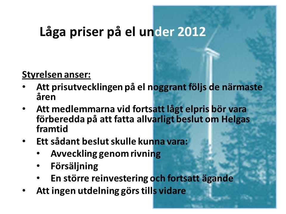Låga priser på el under 2012 Styrelsen anser: • Att prisutvecklingen på el noggrant följs de närmaste åren • Att medlemmarna vid fortsatt lågt elpris