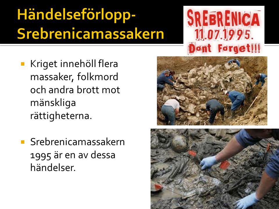  Kriget innehöll flera massaker, folkmord och andra brott mot mänskliga rättigheterna.  Srebrenicamassakern 1995 är en av dessa händelser.