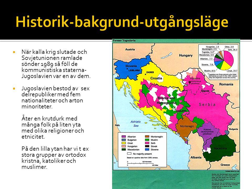  När kalla krig slutade och Sovjetunionen ramlade sönder 1989 så föll de kommunistiska staterna- Jugoslavien var en av dem.  Jugoslavien bestod av s