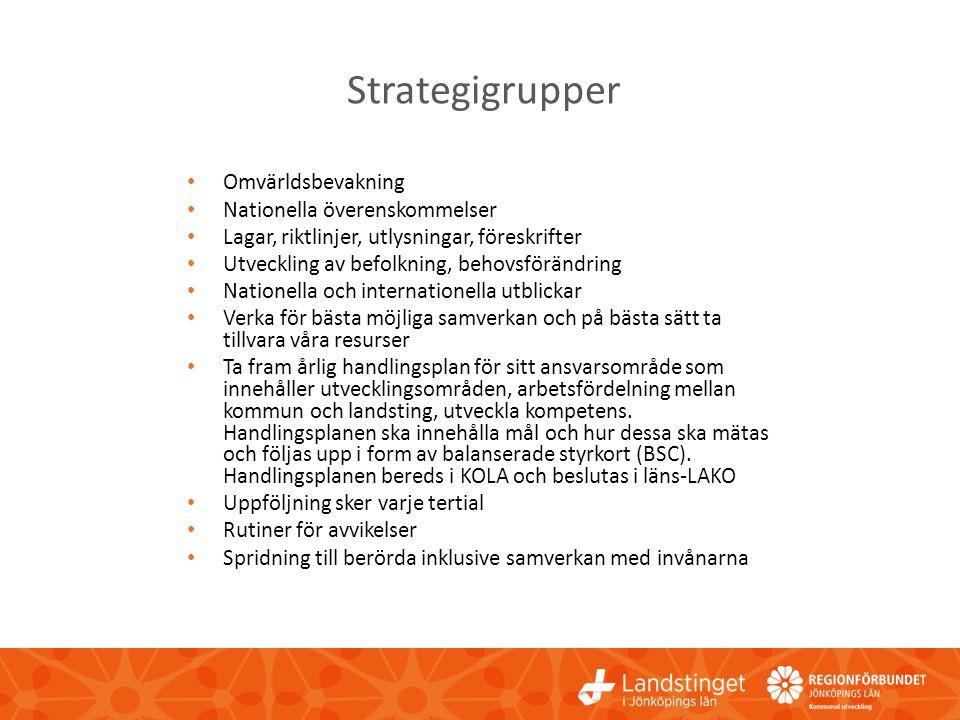 Strategigrupper • Omvärldsbevakning • Nationella överenskommelser • Lagar, riktlinjer, utlysningar, föreskrifter • Utveckling av befolkning, behovsför