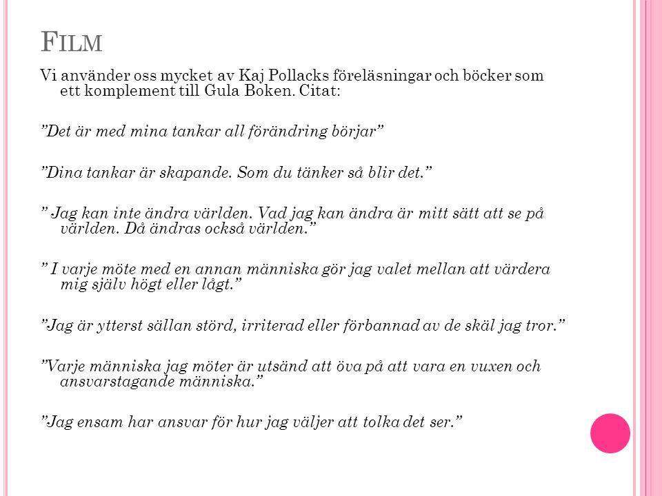 F ILM Vi använder oss mycket av Kaj Pollacks föreläsningar och böcker som ett komplement till Gula Boken.