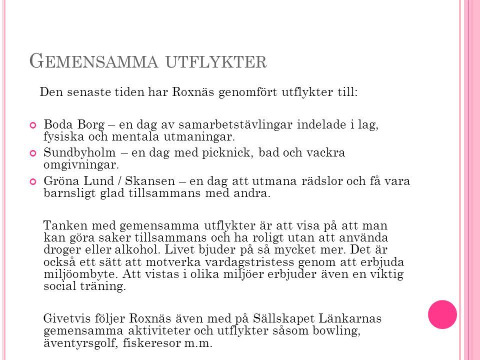 G EMENSAMMA UTFLYKTER Den senaste tiden har Roxnäs genomfört utflykter till: Boda Borg – en dag av samarbetstävlingar indelade i lag, fysiska och mentala utmaningar.