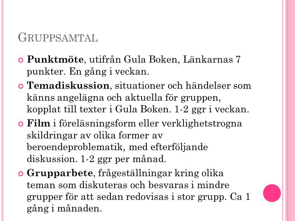 G RUPPSAMTAL Punktmöte, utifrån Gula Boken, Länkarnas 7 punkter.